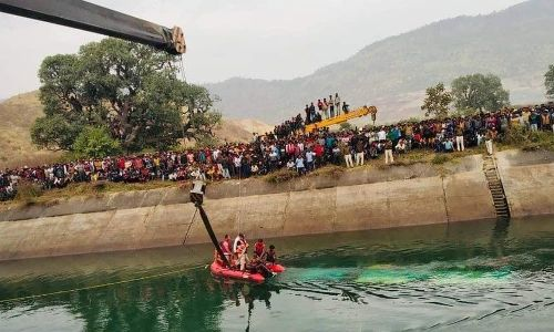 At least 37 dead as bus plunges into canal in India